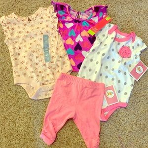 NWT Newborn Girl Bundle - Top, onesies, and capris